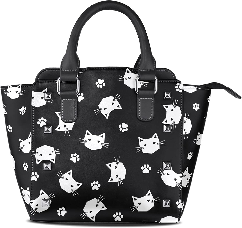 My Little Nest Women's Top Handle Satchel Handbag Black White Cats with Paws Ladies PU Leather Shoulder Bag Crossbody Bag