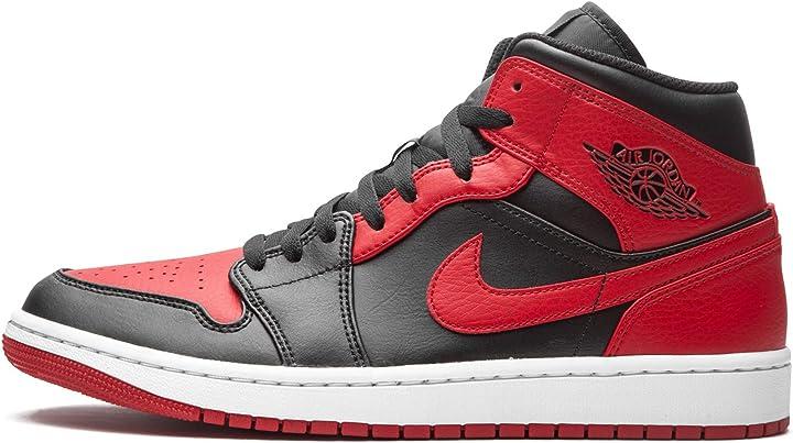 Nike - air jordan 1 mid banned, da uomo, 554724 074, colore: nero rosso bianco B08N1JXW9G