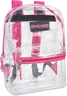 Clear Backpack With Reinforced Straps For Security & Sporting Events (Pink)