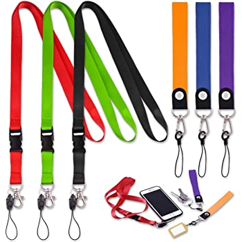 10pcs Keychain Lanyard Clip with Strap Quick Release Buckle Fluorescent Yellow