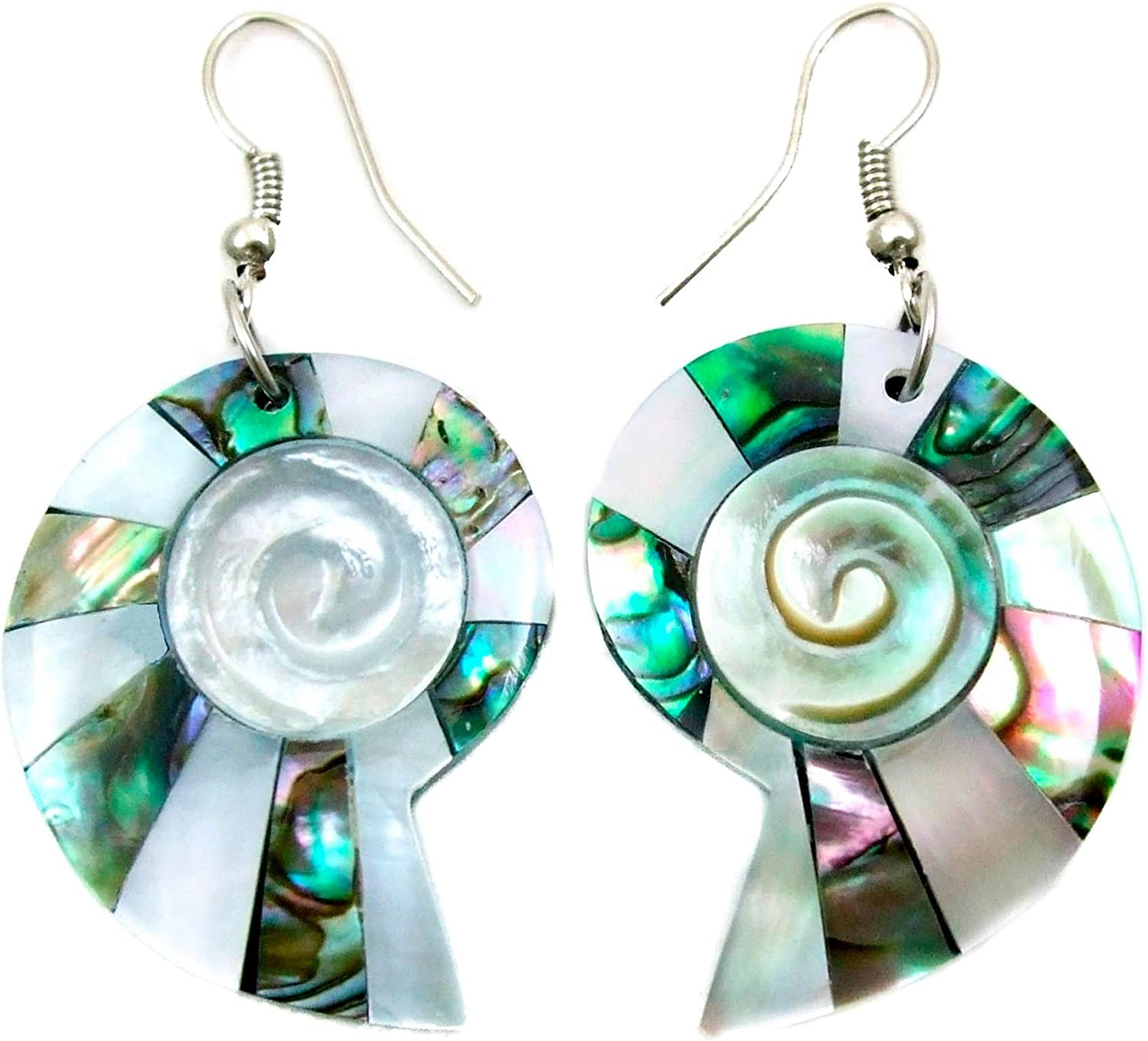 Abalone Earrings with Mother of Pearl Handmade 2 inch Natural Shell Dangle Drop Womwn Jewelry BA268