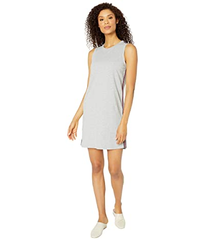 Mod-o-doc Lightweight French Terry Tank Dress with Stripe Trim (Heather Grey) Women