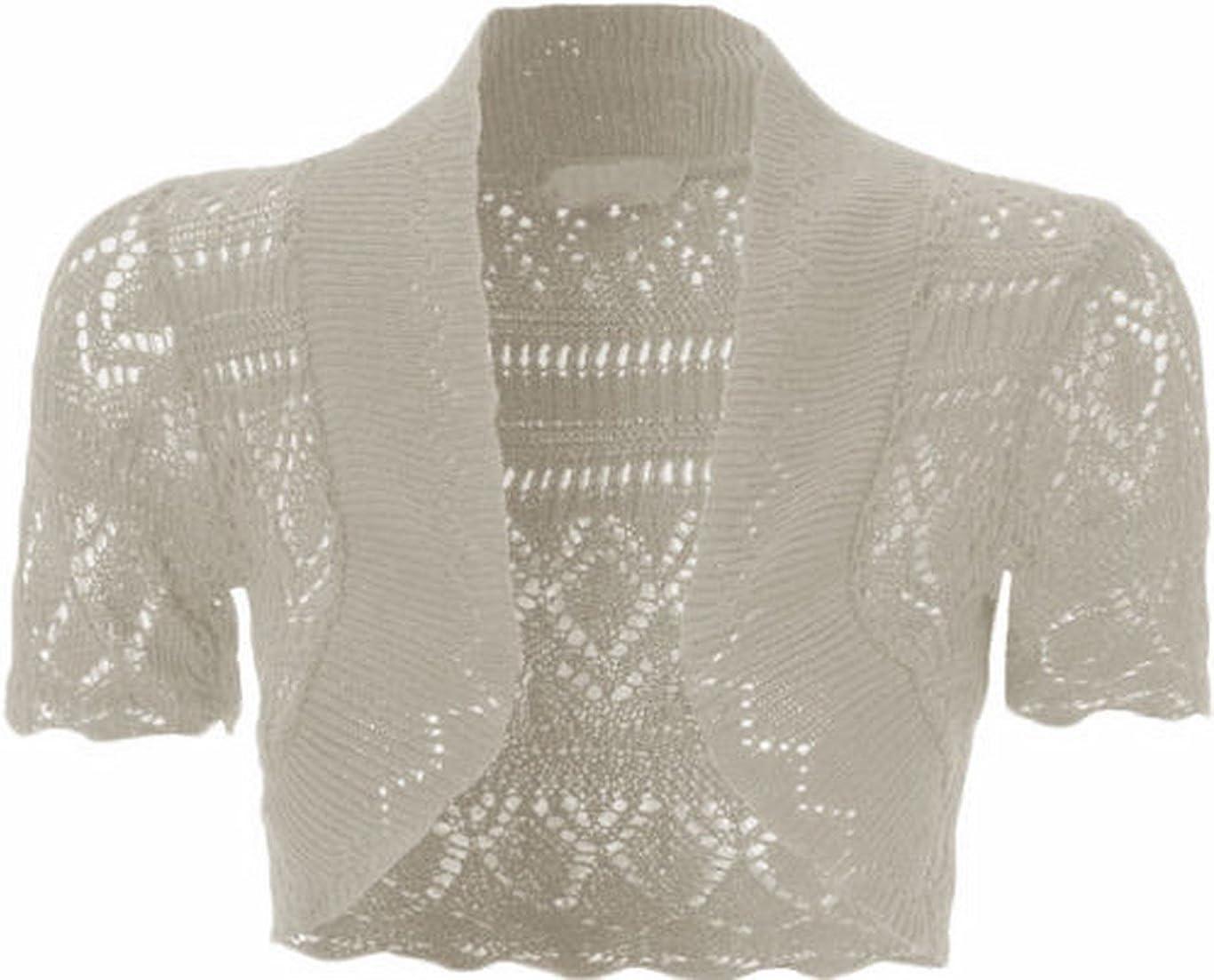 Womens Knitted Bolero Shrug Short Sleeve Crochet Shrug (L, Beige)