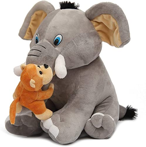 Babyjoys Premium Quality Elephant and Naughty Monkey Soft Toy, 30 cm (Grey) …