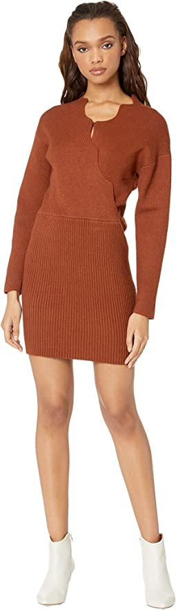 Knit Sweater Dress with Scallop Neckline
