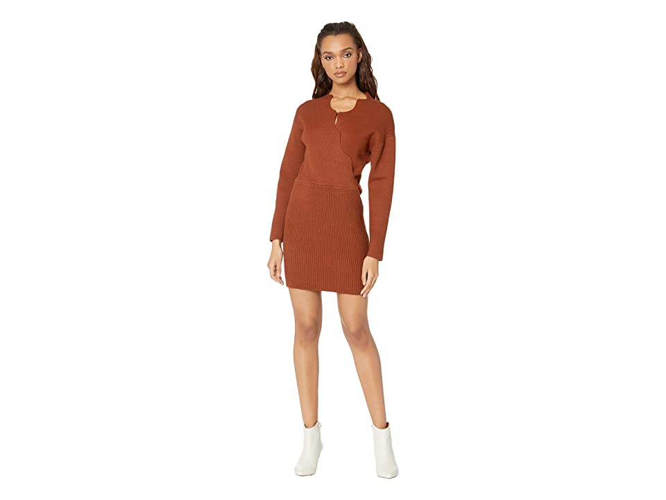 J.O.A. Knit Sweater Dress with Scallop Neckline (Camel) Women