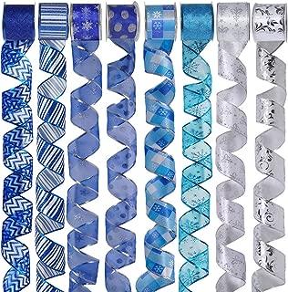 8 Rolls 48 Yards Blue Silver Christmas Tree Ribbon Wired Bows Ribbon Assorted Holiday Ribbon Snowflake Ribbon Glitter Mesh 2.5