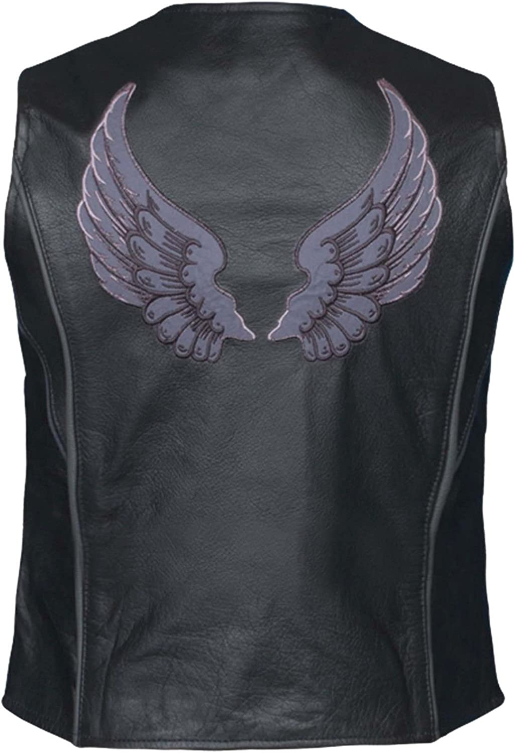 Unik Motorcycle Womens BLK Leather Grey Tribal Wing Back HIGH Visibility Reflective