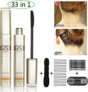 Hair Styling Stick Flyaway Hair Stick with Extra Hair Tool Kit 33 in 1, 2 pcs Refreshing Not Greasy Fixing Bangs Stereotypes Cream,Small Broken Hair Finishing Cream for Women/Kids/Men (33 in 1)