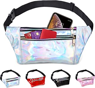swelldom Fanny Pack Belt Bag, Holographic Fanny Packs Women Men Kids, Fashion Waist Pack 3 Pouches Adjustable Strap, Shiny...