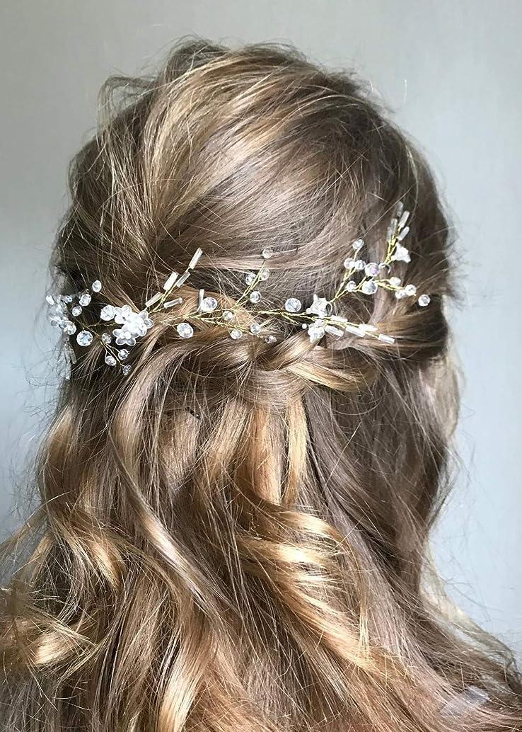 Kercisbeauty Wedding Hair Vine with Beads Bridal Headpiece Headband Women's Handmade Boho Jewelry Girls Prom Hair Accessories (Silver)