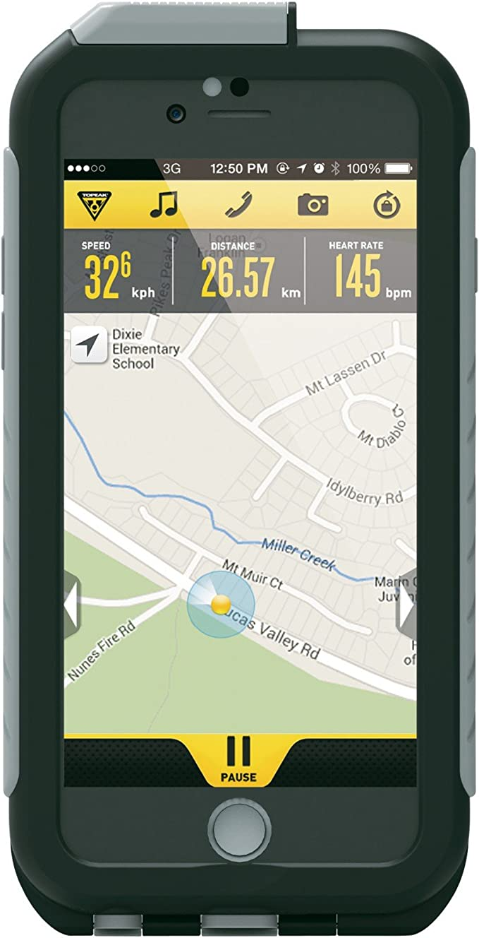 Topeak Weatherproof Ridecase Für Iphone 6 6s Inkl Halter Schwarz Grau Sport Freizeit