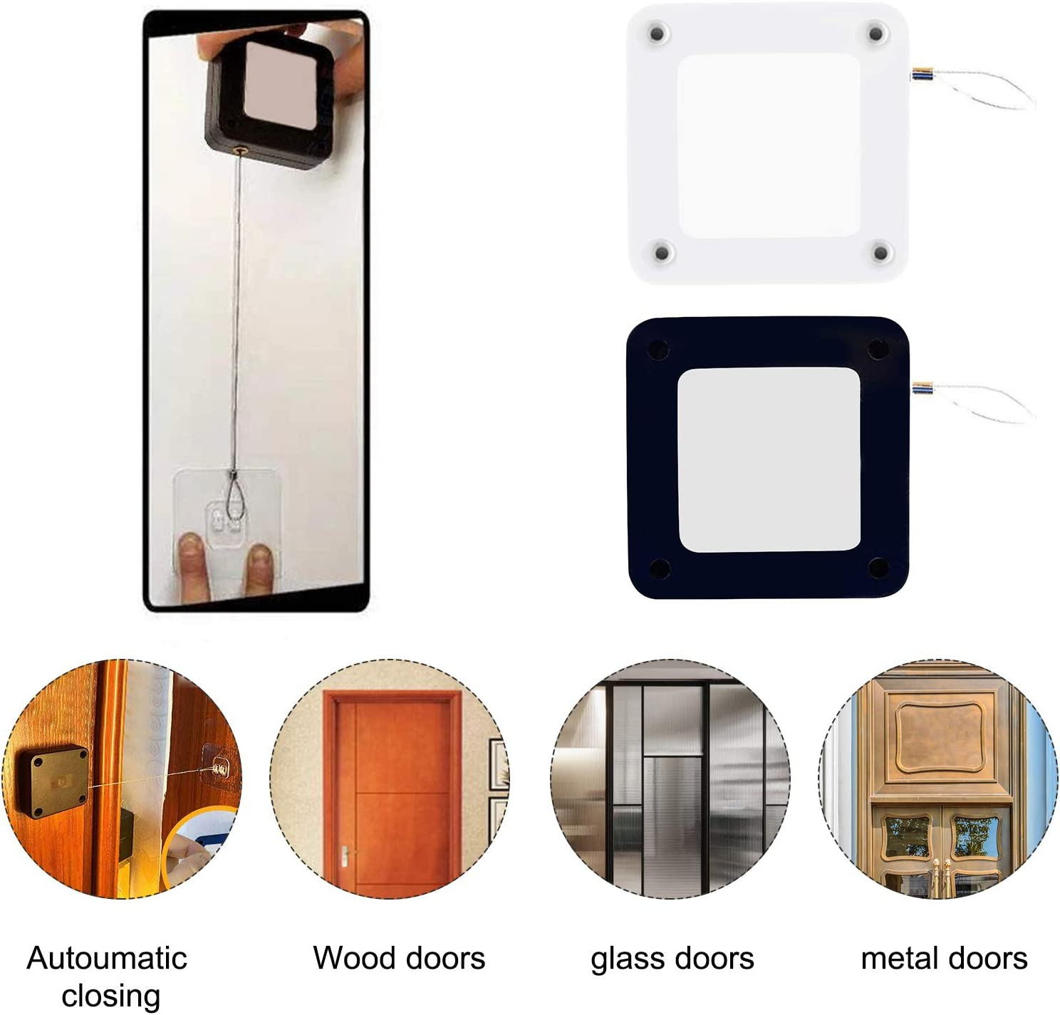 No Perforation Anti-Injury Child Protection For Indoor Balcony Kitchen Bathroom Basement Automatic Door Closer Corded Door Closer Automatic Sensor