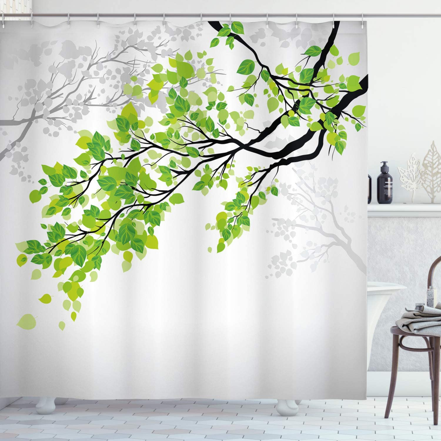 Amazon Com Ambesonne Nature Shower Curtain Twiggy Spring Tree Branch With Refreshing Leaves Summer Peaceful Woodland Graphic Cloth Fabric Bathroom Decor Set With Hooks 75 Long Green Grey Home Kitchen
