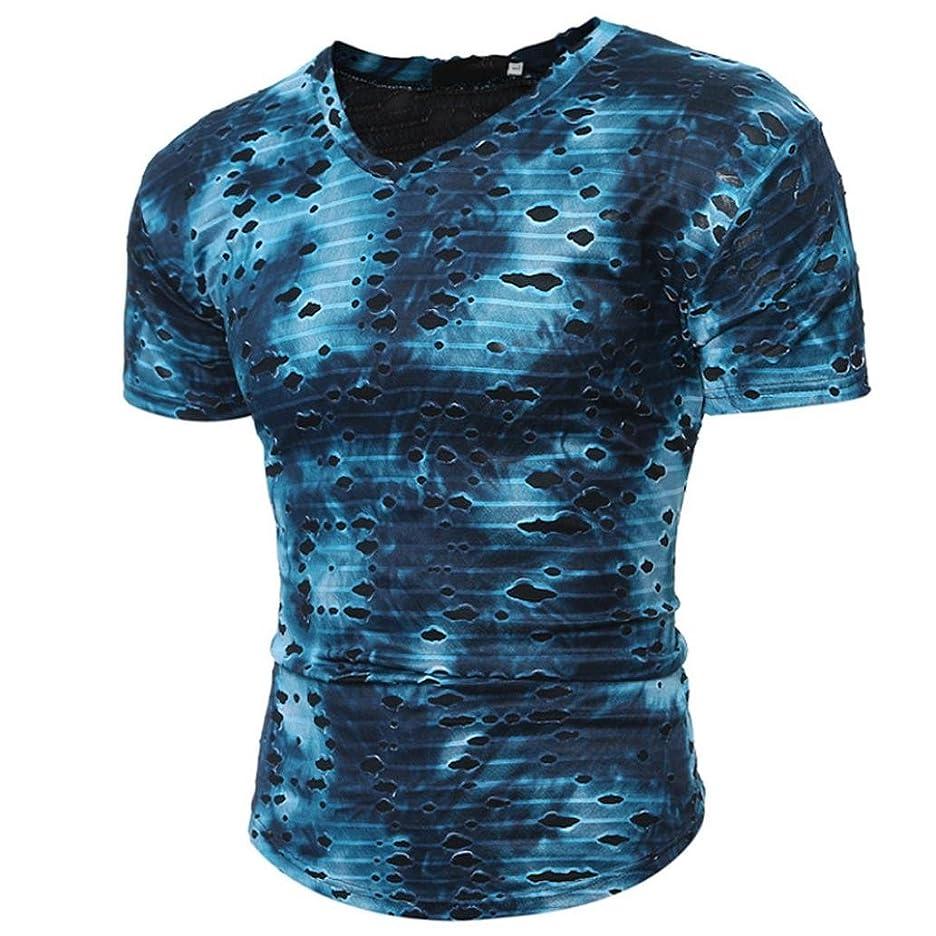 濃度技術的な使用法夏トップ、aimtoppyファッション個性メンズカジュアルスリムプリント半袖Tシャツトップブラウス X-Large ブルー AIMTOPPY