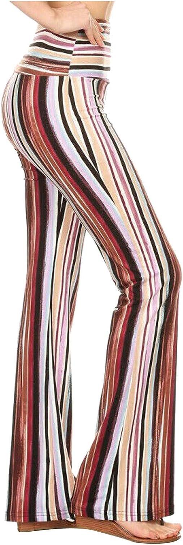 Sunhusing Women's Bohemian Striped Print Stretch Bell Bottom Flare Palazzo Pants Trousers High Waist Vintage Wide Leg Pants