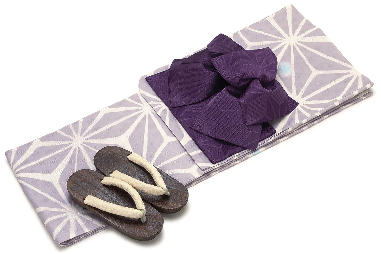 レディース浴衣セット[浴衣/作り帯] bonheur saisons 薄紫色 ライトパープル 麻の葉 水玉 鹿の子 綿 変わり織り 浴衣セット 女性 フリーサイズ