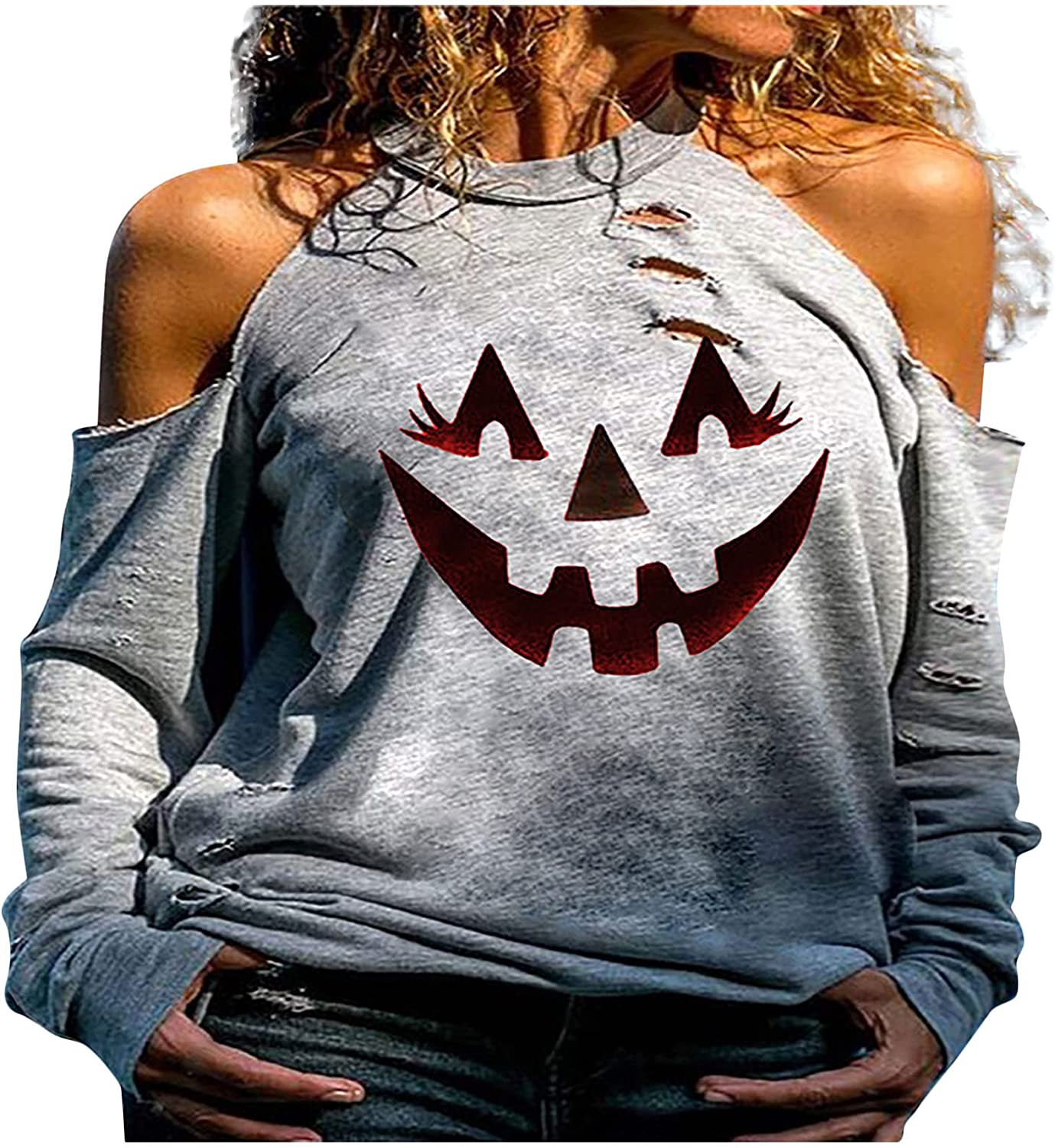 Women Halloween Tops Pumpkin Printed Long Sleeve Cold Shoulder Sexy Fashion Hollow Out Casual Blouses