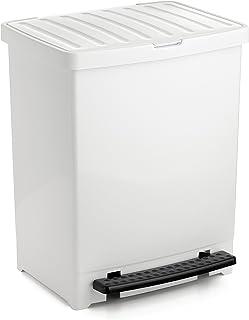 comprar comparacion Tatay Cubo de Basura Cocina con Apertura a Pedal 25 l de Capacidad plástico Polipropileno, Blanco, 33,5 x 31 x 42 cm