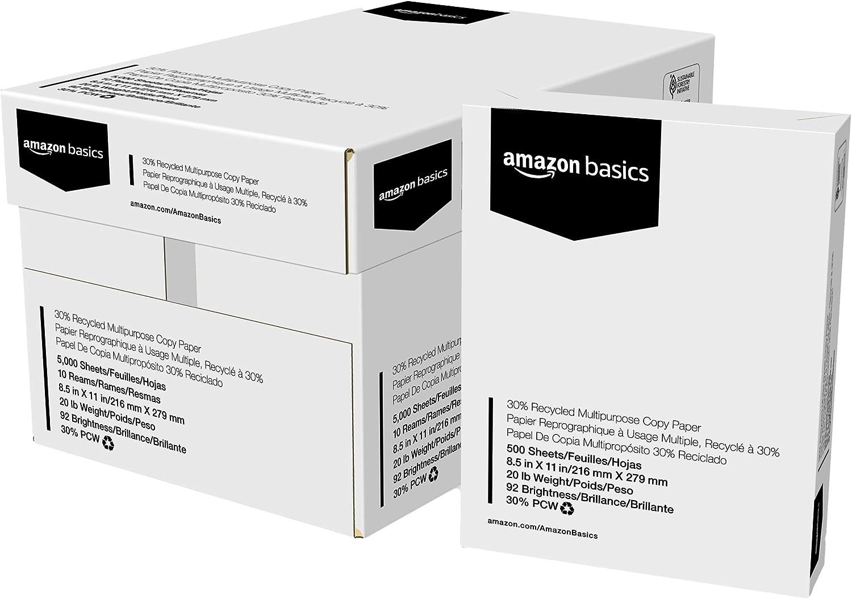 亚马逊基础知识30%回收多功能复印打印机纸 - 8.5 x 11英寸,10个地毯案例(5,000张)