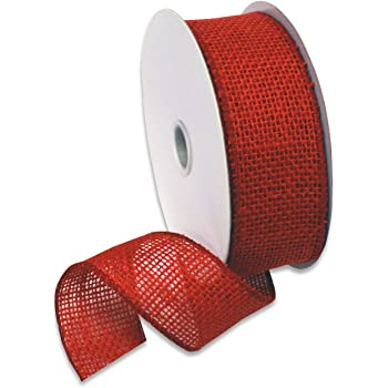 "Morex Ribbon Burlap Ribbon, 1.5"" x 10 Yd, Rose Red"