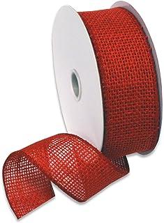 """Morex Ribbon Burlap Ribbon, 1.5"""" x 10 Yd, Rose Red 30 Feet"""