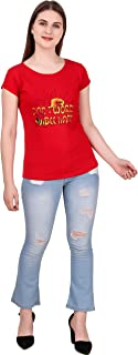 MODISH Women's Casual/Formal, Printed Cotton T-Shirt (Red, XL)