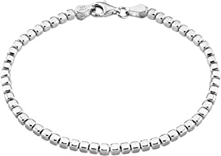 Miabella 925 Sterling Silver Organic Cube Bead Chain Bracelet for Women Men, 6.5, 7, 7.5, 8, 8.5 Inch Handmade in Italy