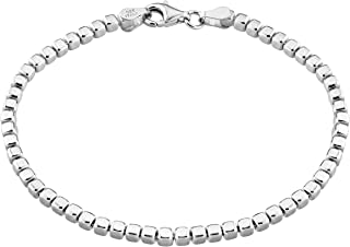 MiaBella 925 Sterling Silver Organic Cube Bead Chain Bracelet for Women Men Choice of 18K Yellow or White Gold Over Silver, 6.5, 7, 7.5, 8 Inch Handmade in Italy