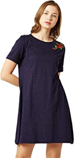 Miss Chase Women's Navy Blue Embroidered Mini Dress