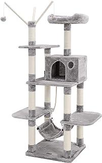 SONGMICS SONGMICS Cat Tree Cat Scratcher Activity Centres Scratching Post with a Hammock Light Grey PCT86W, M