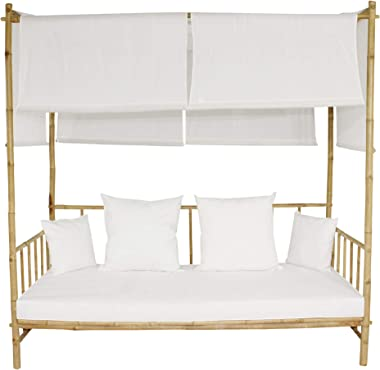ZEW Bamboo Upholstered Patio Outdoor and Indoor Large Accent Sofa Chair Lawn Pool Garden Seating with Canopy Daybed, Twin XL,