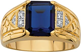 Men's 18K Yellow Gold Plated Emerald Cut Created Blue Sapphire and Diamond Accent Ring