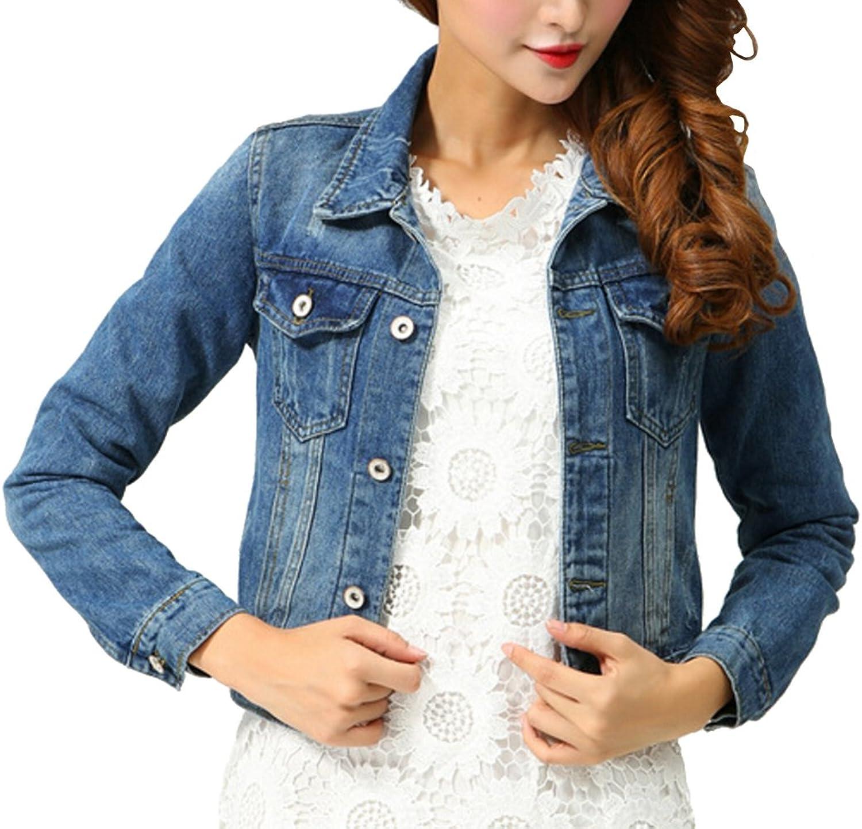 Muke Women's Fashion Washed Long Sleeve Lapel Buttonup Leisure Denim Jacket
