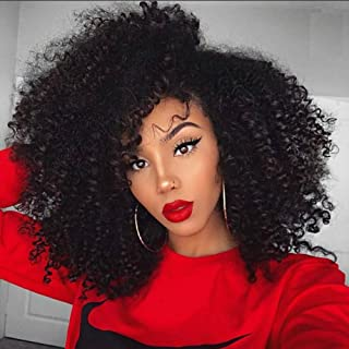 Natural Afro Kinky Curly Human Hair Body Wave 100% Real Hair Brazilian Hair Glueless 360 Lace Frontal Wigs 150 Density Natural Color from Dream Beauty for women (8 Inch)