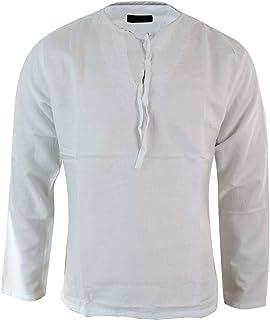 Wenchuang T-Shirt a Maniche Lunghe con Scollo a V in Tinta Unita in Lino Etnico Traspirante da Uomo