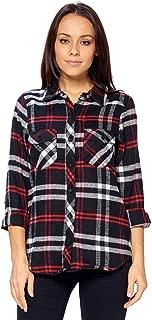 Ci Sono Women's Everyday Basic 100% Cotton Long Sleeve Button Down Plaid Shirt