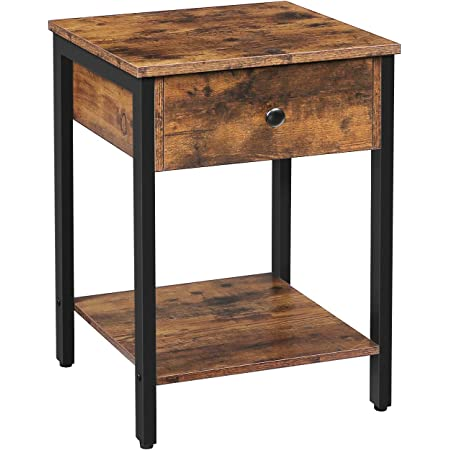 HOOBRO Nightstand, 2-Tier End Table, Industrial Side Table with Drawer and Storage Shelf, Wood Accent Table with Metal Frame, Easy Assembly, Rustic Brown and Black BF40BZ01