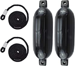 Norestar 2-Pack Ribbed Fender Deflated with 2 Fender Lines for Boat or Dock