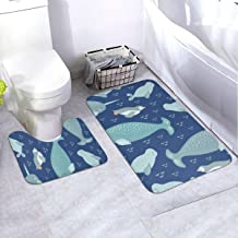 Bath Rug Set 2 Piece BathroomSweet Narwhal, Penguin and Seal Mat Sets Non Slip Microfiber Bath Shower Mat U-Shaped Toilet ...