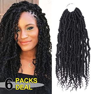 14 inch Passion Spring Twist Synthetic Crochet Hair 6 Pack/lot Jamaican Bounce Crochet Hair Extensions For Woman(24 Strands/Pack,#1B)