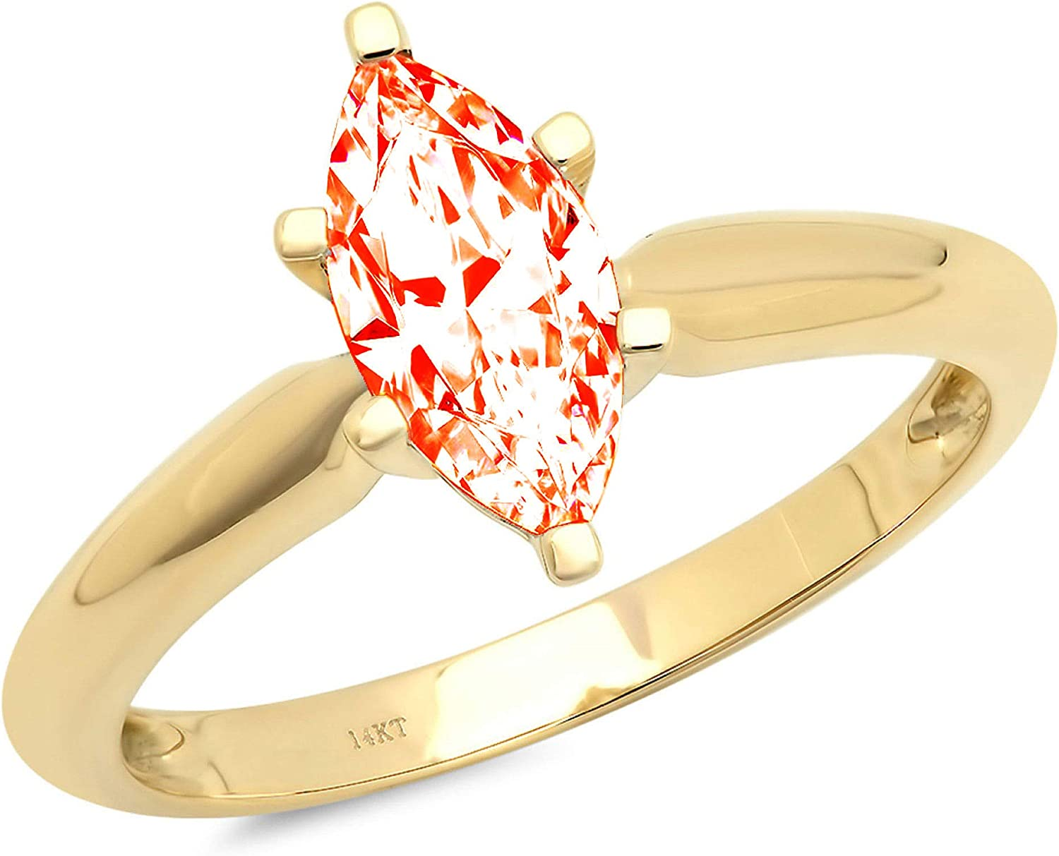 1.4ct Brilliant Marquise Cut Solitaire Stunning Genuine Red Simulated Diamond Cubic Zirconia Ideal VVS1 D 6-Prong Engagement Wedding Bridal Promise Anniversary Ring Solid 14k Yellow Gold for Women