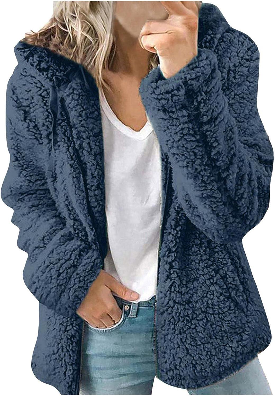LEIYAN Womens Fashion Woolen Hooded Jackets Long Sleeve Zip Up Slim Fit Casual Sherpa Thermal Sweatshirt Coat