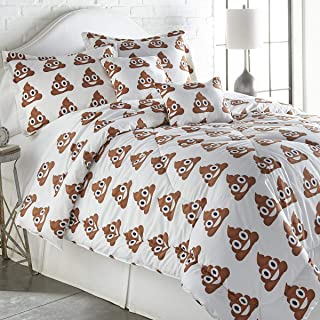 Spirit Linen Home Emoji 4 Piece Comforter Set Cute and Cozy Fun Soft Making Your Sleep Better and More Energized (Poop, Twin)