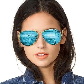 b8dceeebf9 SODQW Gafas de Sol Polarizadas Mujer Espejo Marca Clásico Metal Marco 100%  UVA/UVB
