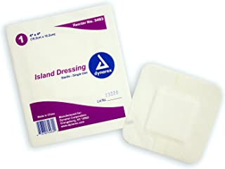 Dynarex Island Dressing - Bordered Wound & Surgical Incision Non-Stick Dressings - Sterile (Individually Wrapped) - Medium...