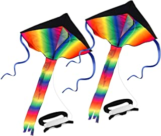 SINGARE Rainbow Delta Kite, Easy Flyer, Long Tail Huge Flyer, for Kids and Adults, One of The Best Outdoor Activities for Kids, with Line and Handle
