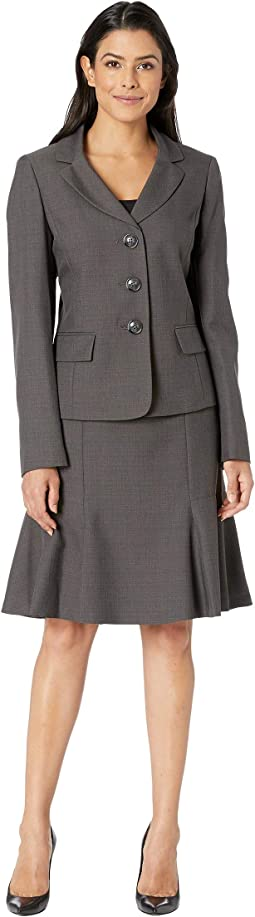 Three-Button Peak Lapel Melange Flare Skirt Suit