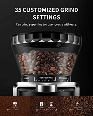 SHARDOR Conical Burr Coffee Grinder, Electric Adjustable Burr Mill with 35 Precise Grind Setting for 2-12 Cup, Black