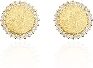 MUSTHAVE 14K Rose Gold Plated Stud Cubic Earrings, Flat & Simple Stud Earrings, Rose Gold & White Gold & Yellow Gold